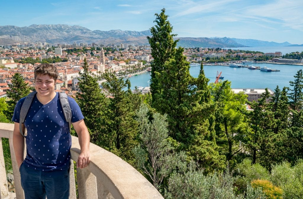 Jeremy Storm on Marjan Hill in Split Croatia with the cityscape in the background