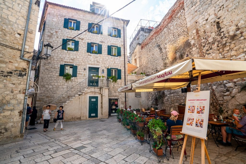 Small square in Split Croatia with a sunflare--quiet spots like this are one of the best things about seeing Split in one day!