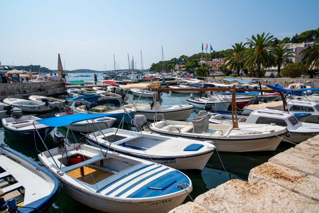 Small boats parked in the Hvar harbor