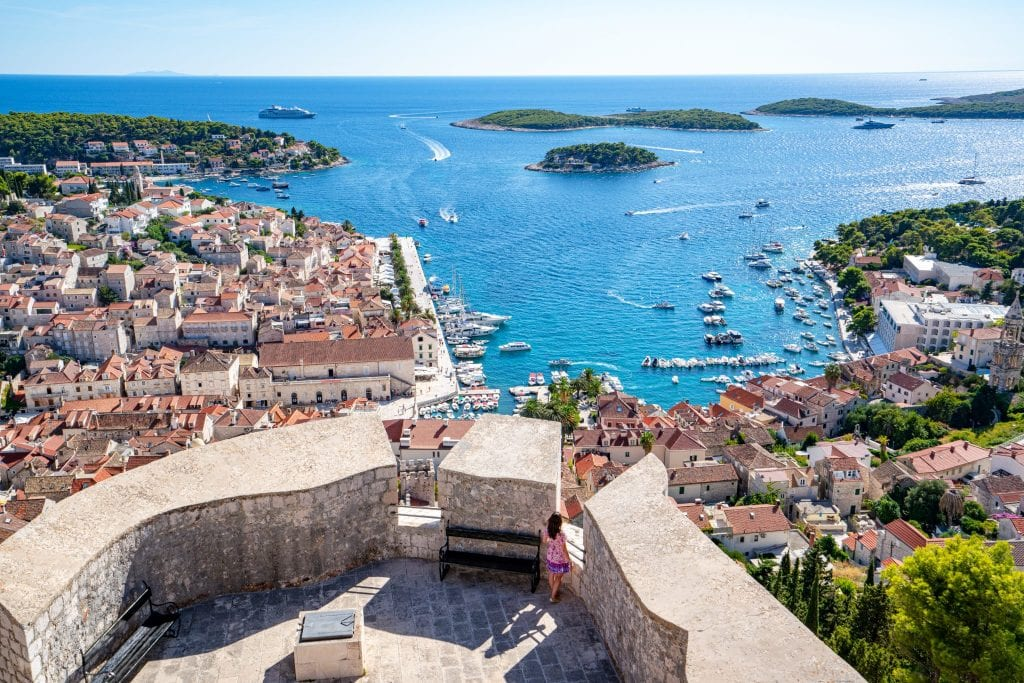 View of Hvar Town from Spanish Fort with Pakleni Islands in the distance, one of the best things to do in Hvar Croatia
