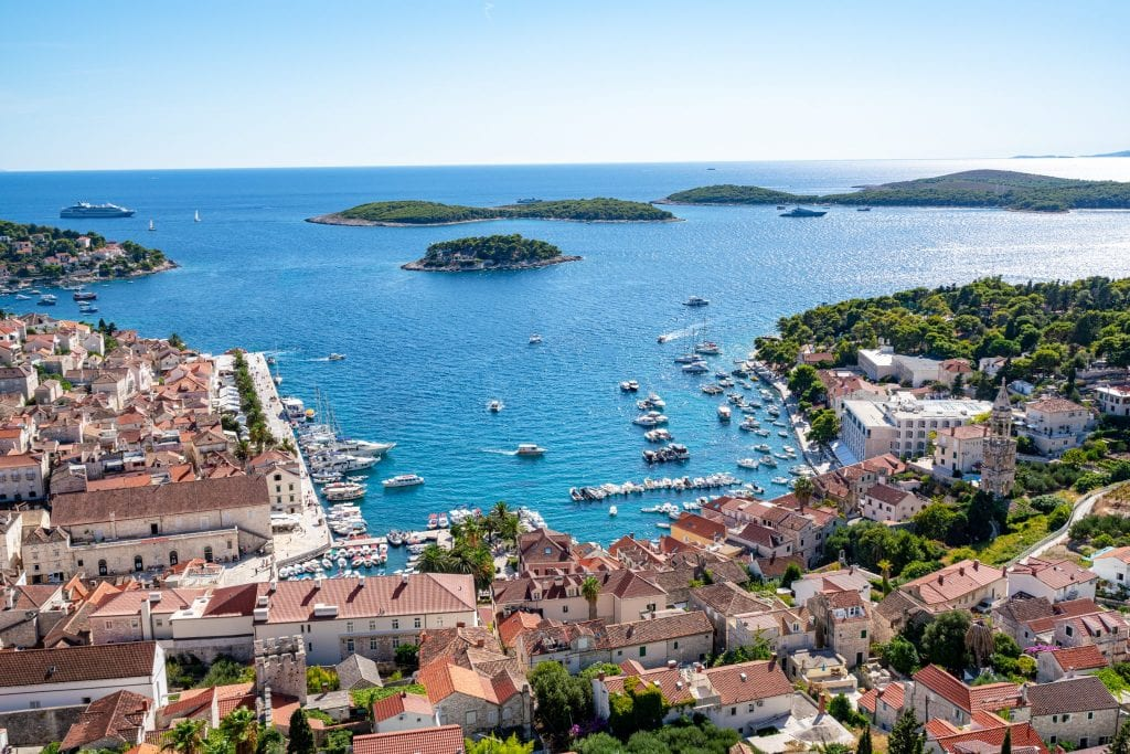 View of Hvar Town and Pakleni Islands from Spanish Fort, one of the best things to see in Hvar Croatia
