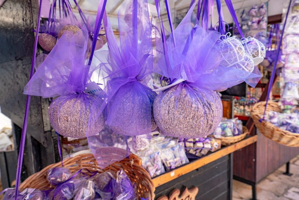Purple balls of lavender hanging on a souvenir stand in Hvar Croatia