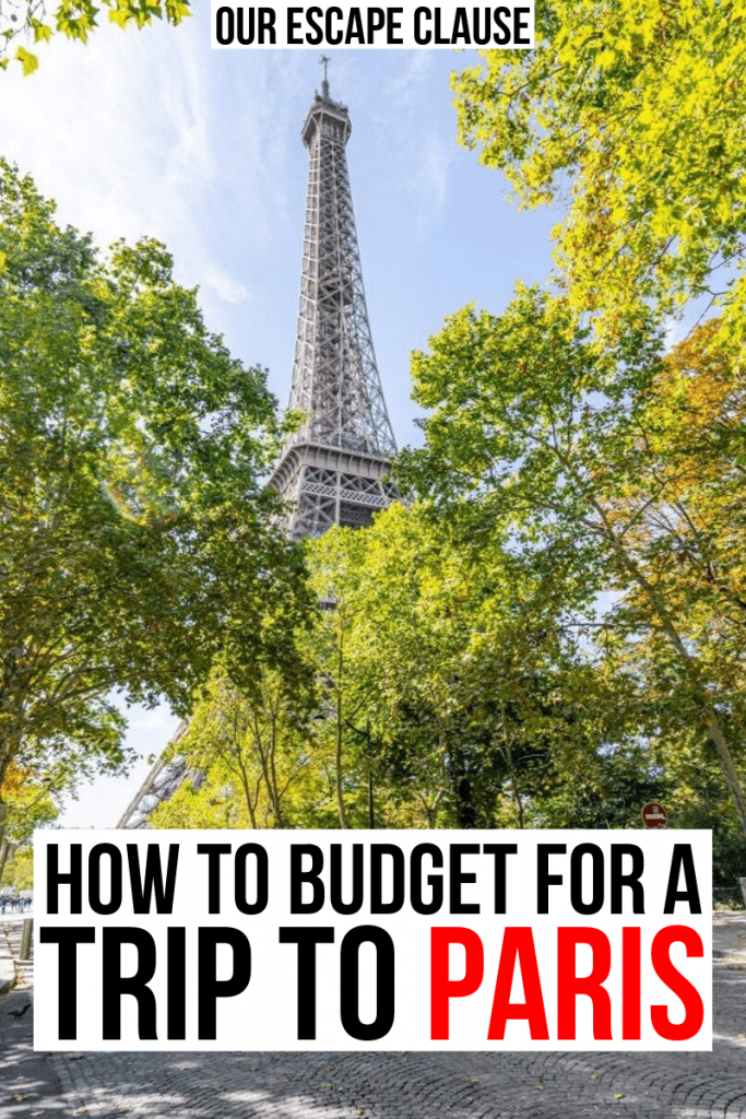 "Photo of the Eiffel Tower being framed by leafy trees. Black and red text on a white background reads ""How to Budget for a Trip to Paris Cost"""