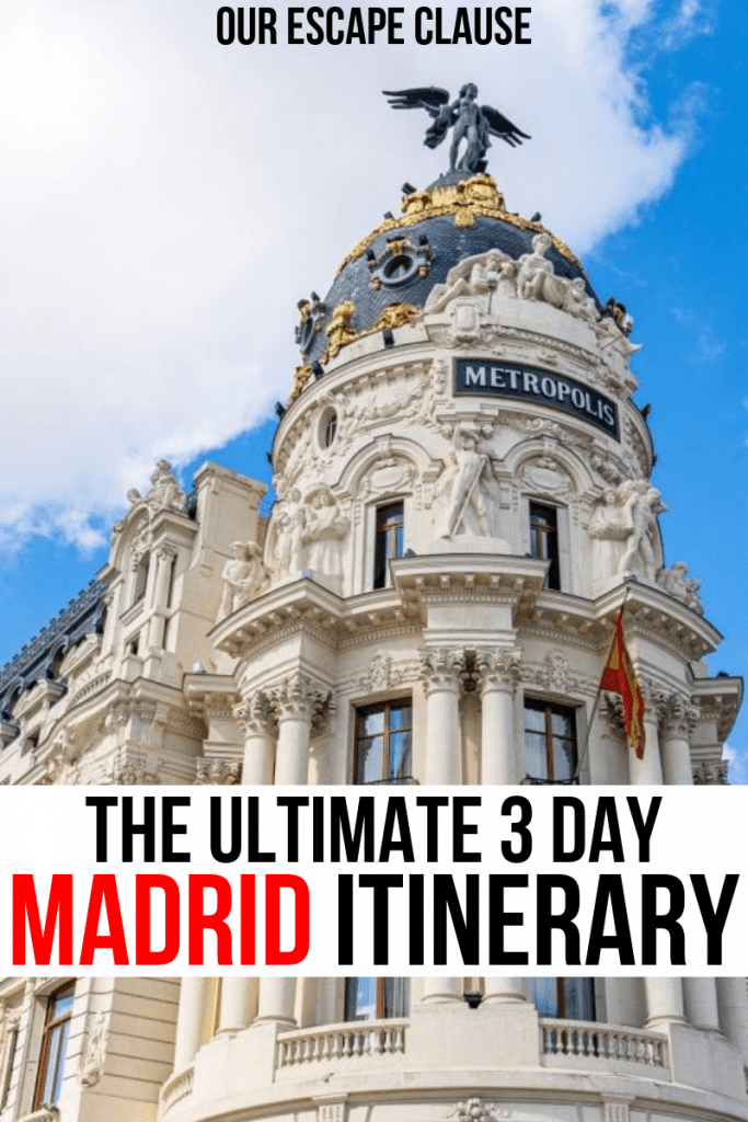 "Photo of the Metropolis Building in Madrid. Black and red text on a white background reads ""The Ultimate 3 Day Madrid Itinerary"""