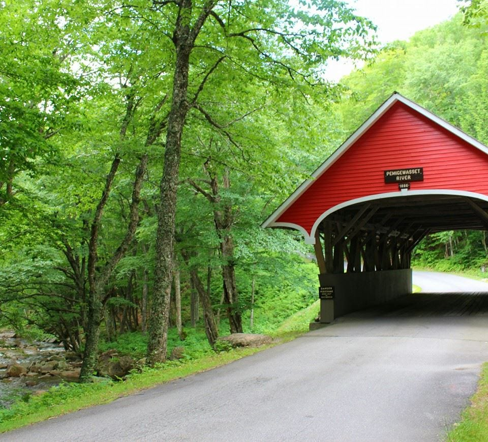 New Hampshire 1886 Pemigewasset Covered Bridge at Fronconia Notch State Park, part of one of the best east coast USA road trips!