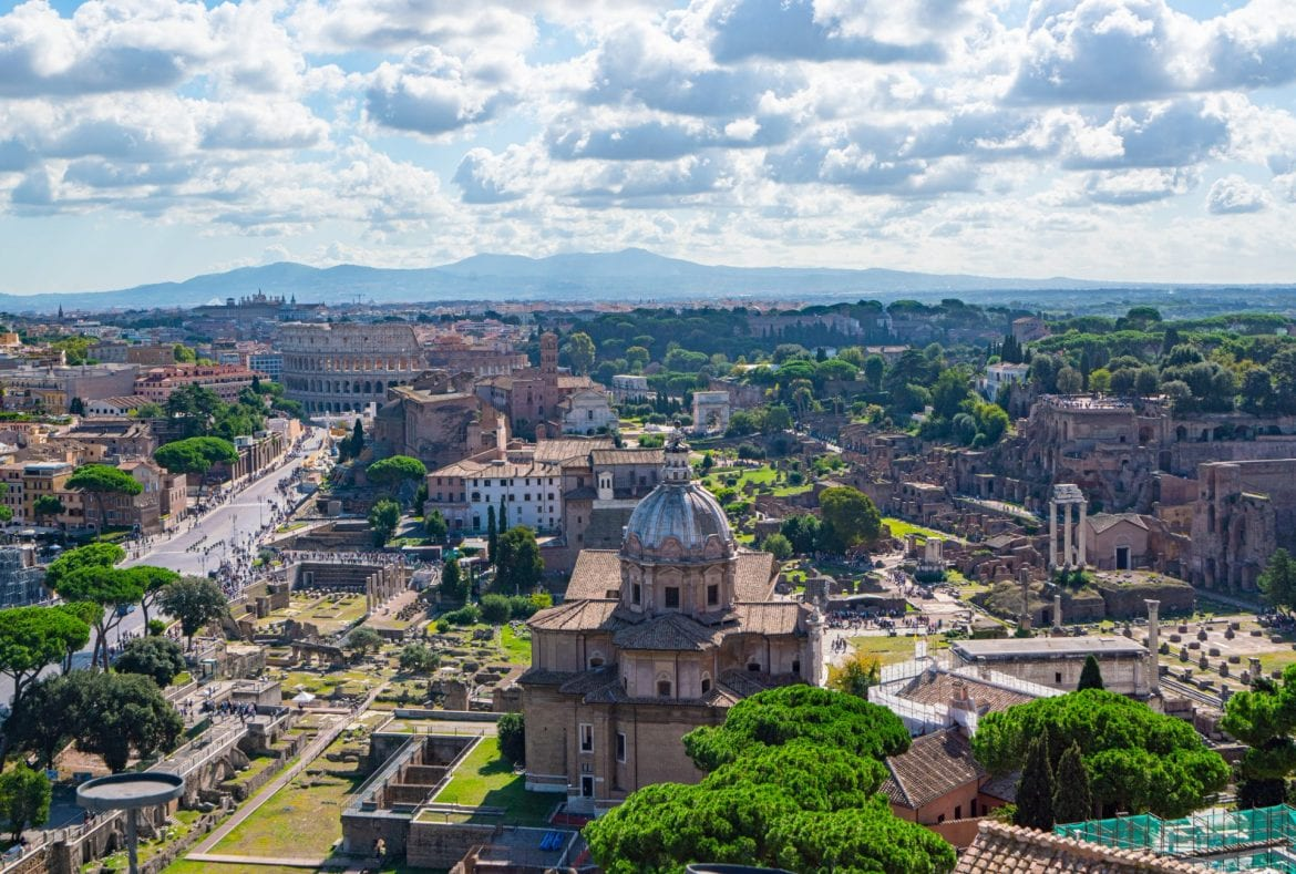 View of the Roman Forum and Colosseum from tha Altare della Patria, one of the best viewpoints in Rome