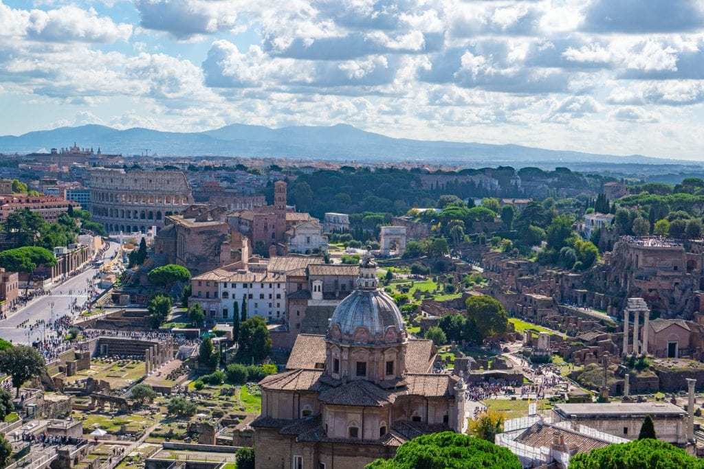 View of the Roman Forum from the top of the Altare della Patria, one of the best rome photography locations