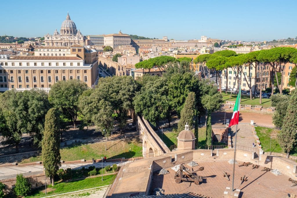 View of part of the castle and St. Peter's Basilica from Castel Sant'Angelo, one of the best views in Rome Italy