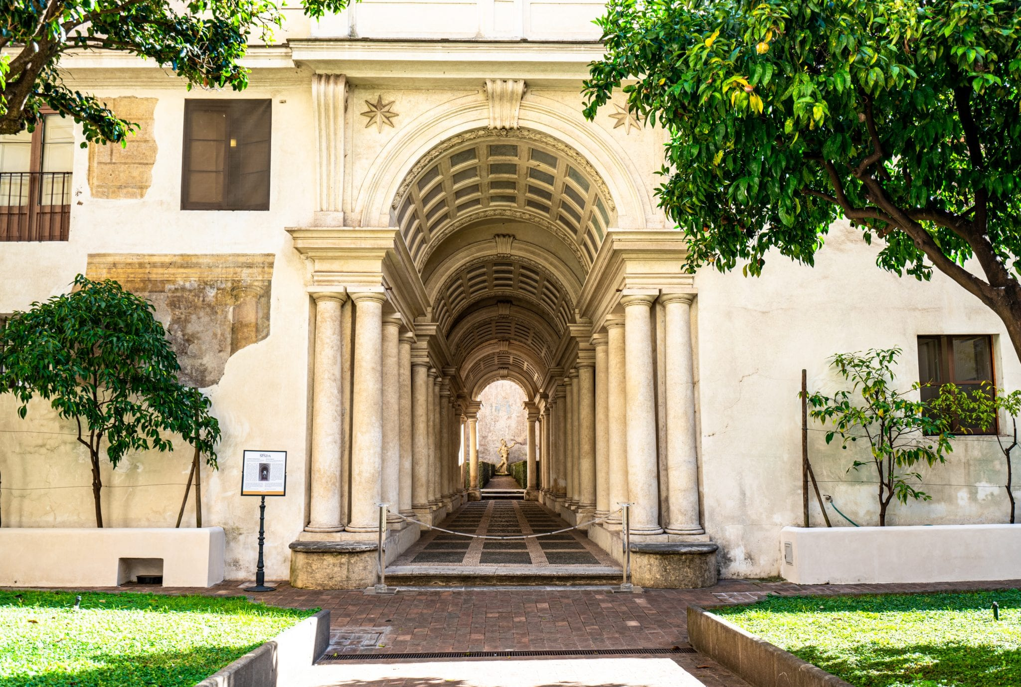 Borromini Forced Perspective Gallery at Palazzo Spada, shot from across the garden