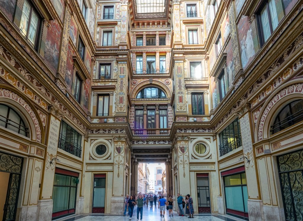 Interior of Galleria Sciarra Rome, showing marble floor and painted frescoes