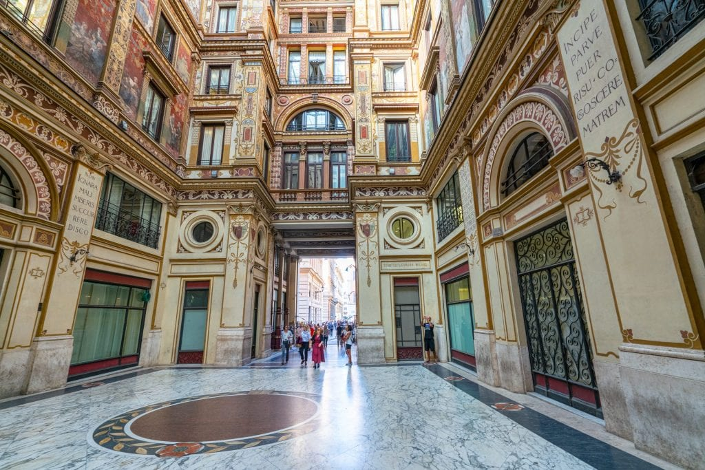 Interior of Galleria Sciarra Rome showing wide expanse of marble floor