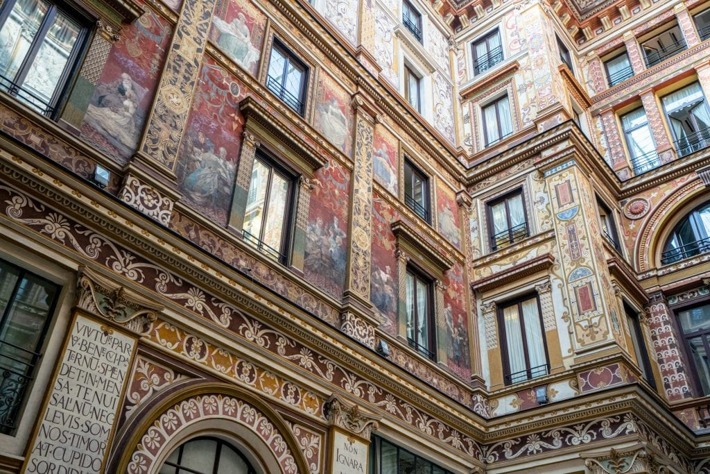 Close up of frescoes in the Galleria Sciarra Rome, shot at an angle