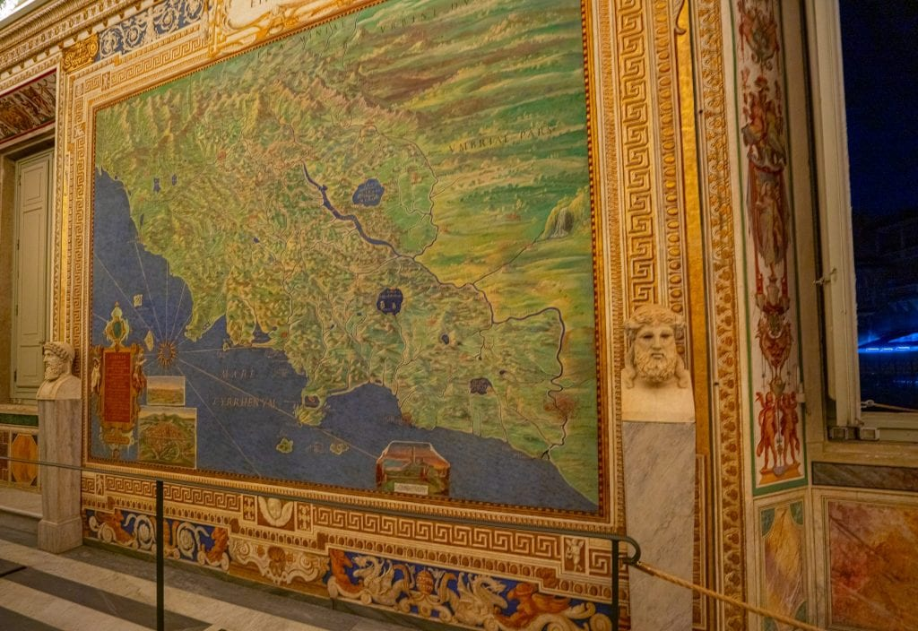 Photo of a map in as seen when visiting the Vatican Museums map room on a Friday night
