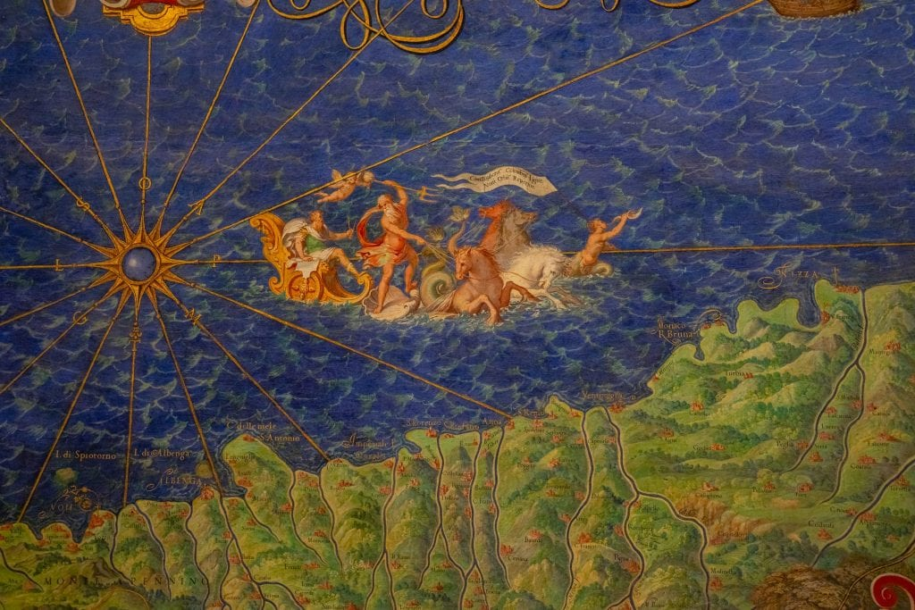 Close up of a painting on a map in the Vatican Museums
