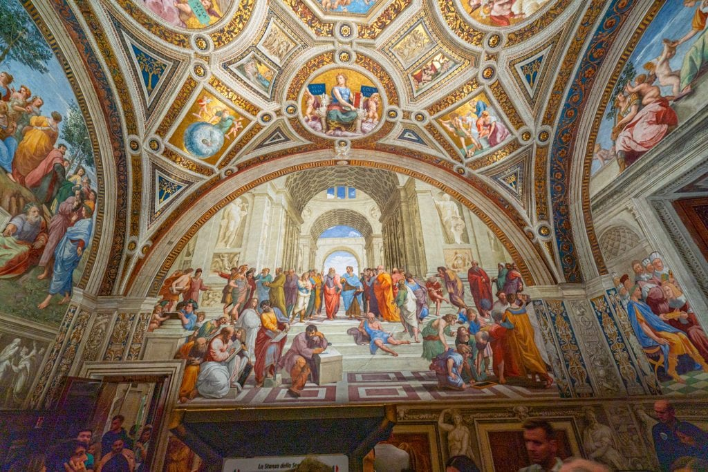 Photo of Raphael's frescoes as seen when visiting the Vatican Museums