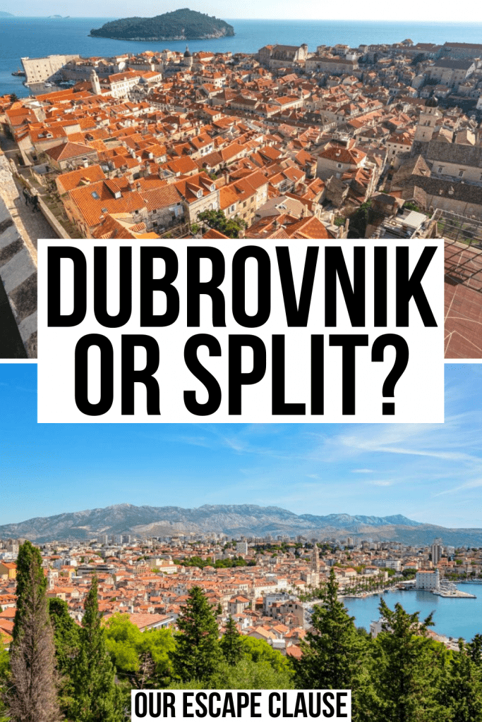 "2 photos from Croatia: Dubrovnik cityscape on top and Split cityscape on bottom, black text on a white background reads ""Dubrovnik or Split?"""