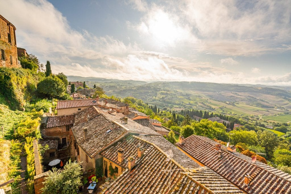 View of the countryside from the edge of Montepulciano, an excellent stop on any Tuscany itinerary!