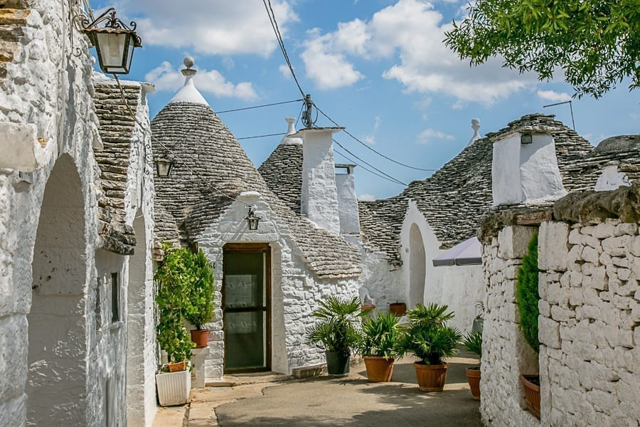 White trulli of Alberobello, one of the prettiest small towns in Italy