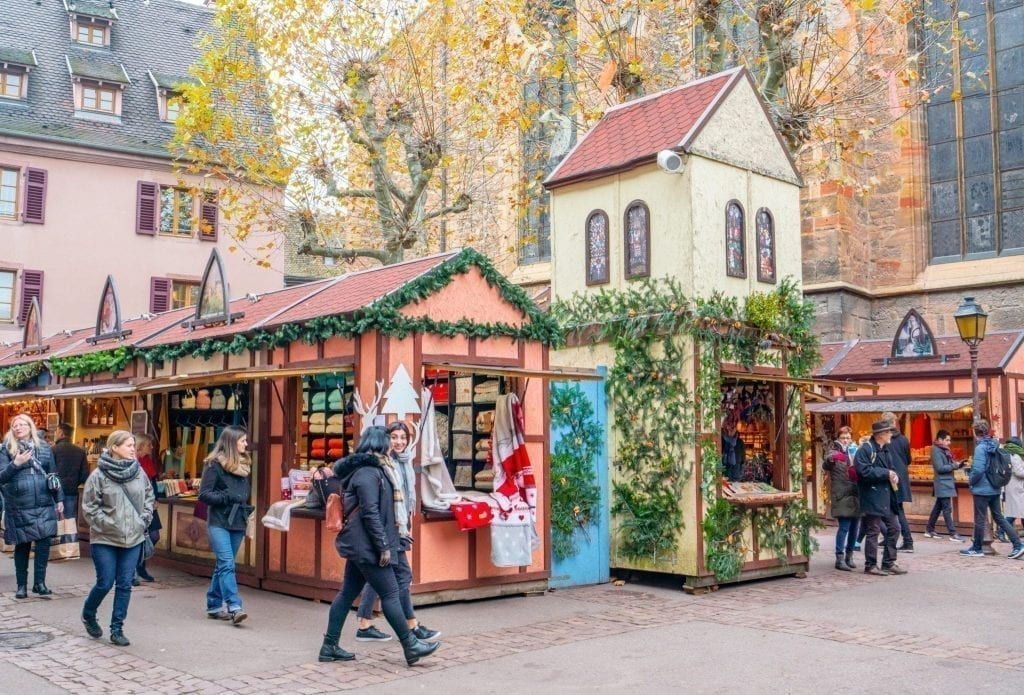 Colmar Christmas market stands set up in Colmar in winter