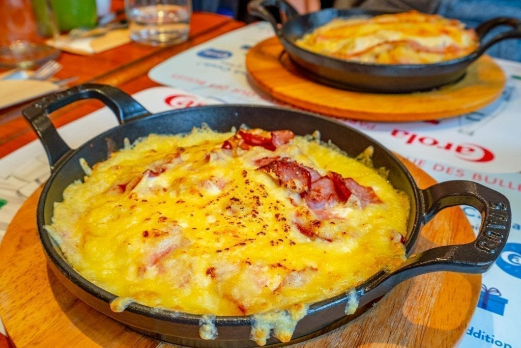 Cheesy rosti served in Colmar in winter