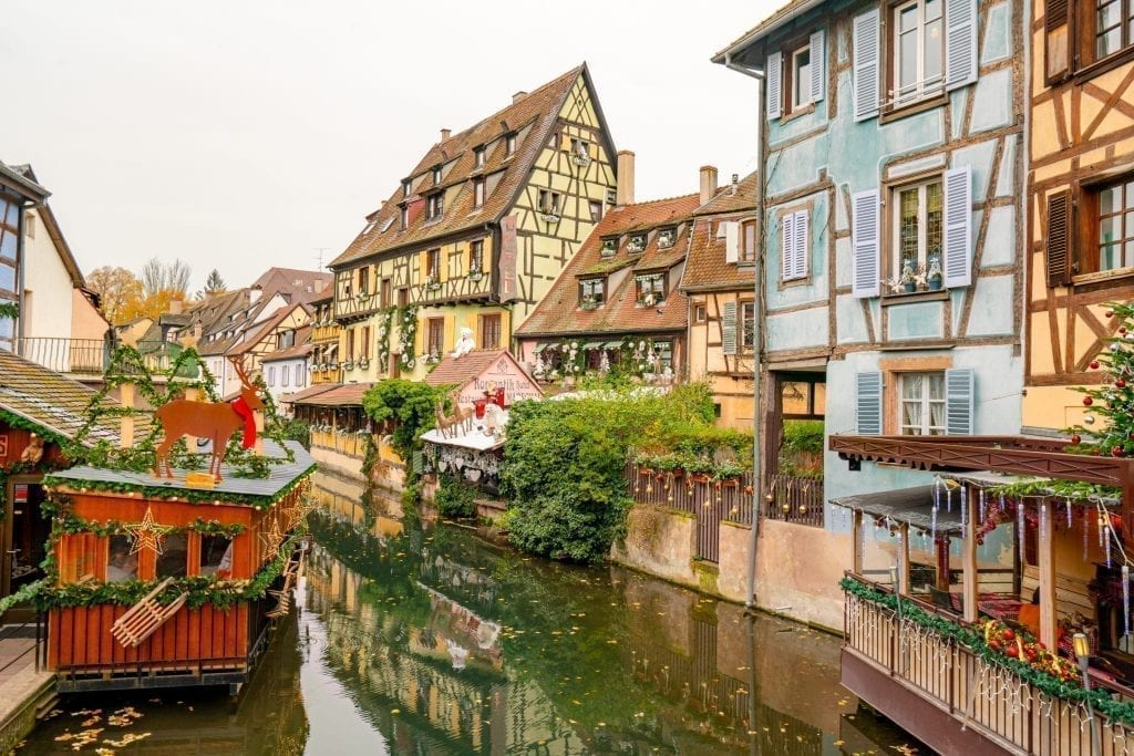 Viewpoint in La Petite Venise in Colmar in winter