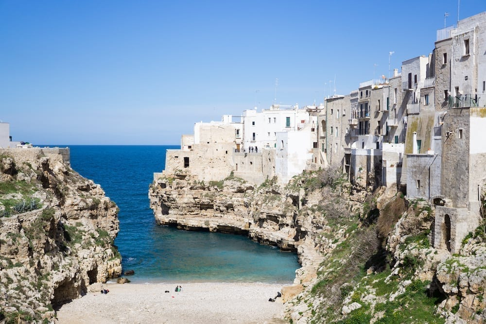 View of beach in Poglinano al Mare in Puglia, one of the best small towns in Italy