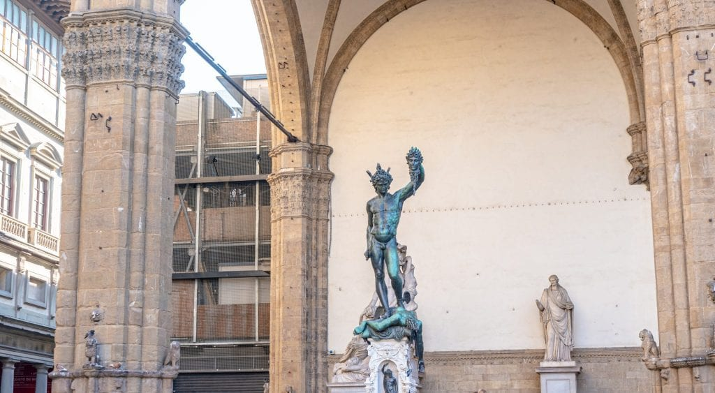 Statue in Florence's Piazza della Signoria as seen during a day in florence italy