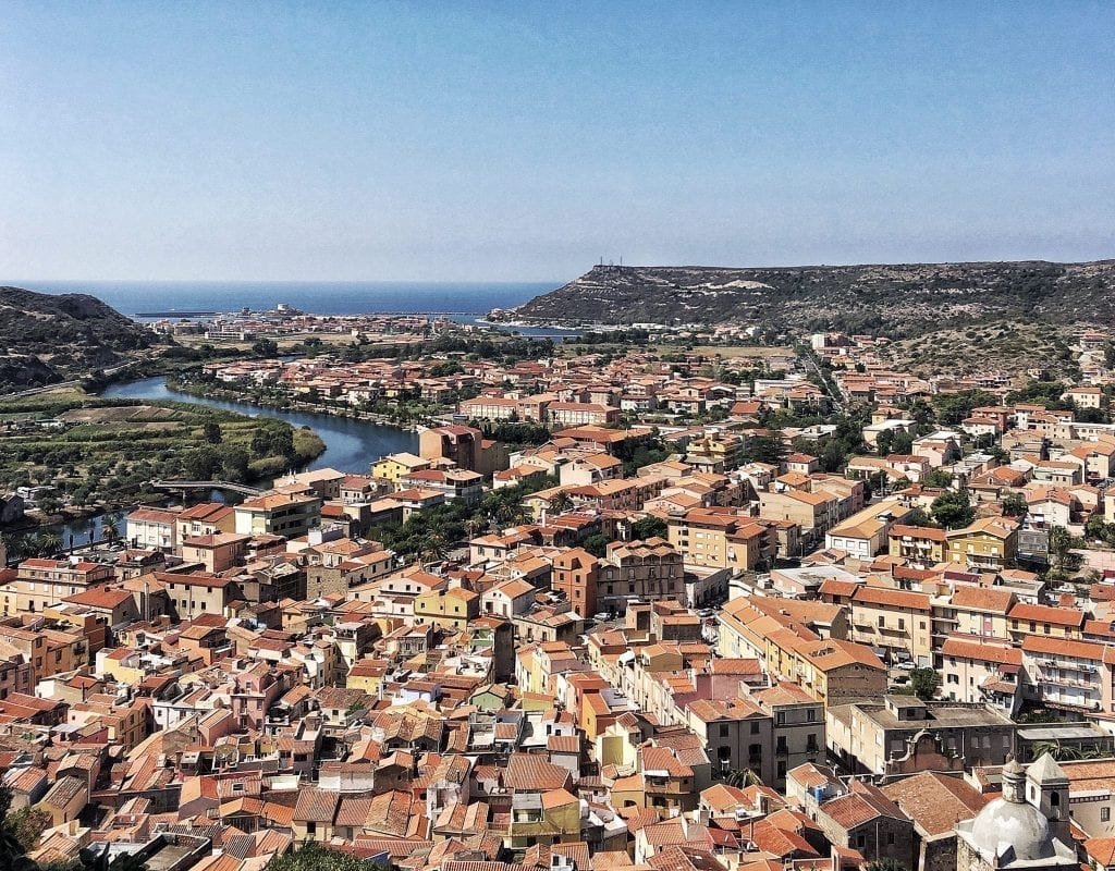 Town of Bosa Sardinia from above, one of the prettiest small villages in Italy