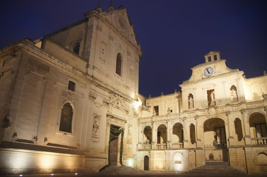 Lecce cathedral lit up at night