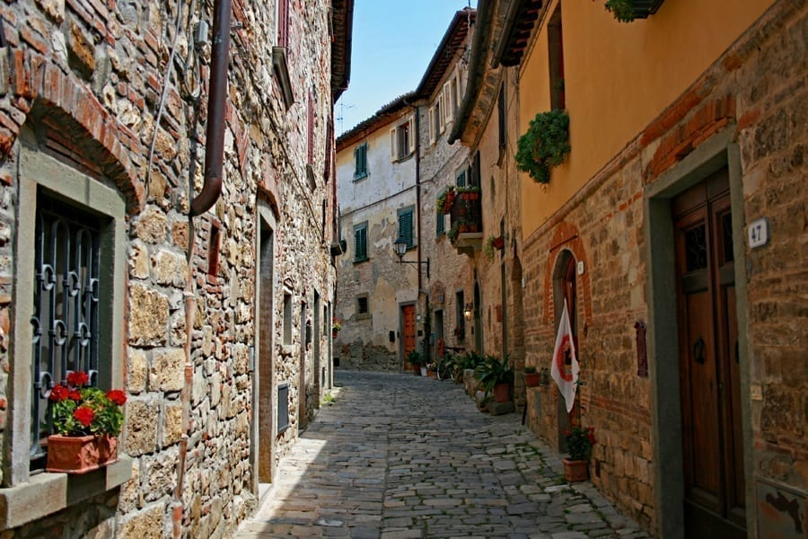 Cobblestone street in Montefioralle in Tuscany