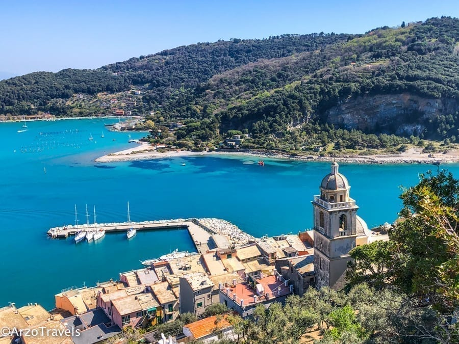 Porto Venere from above with the coast visible, one of the prettiest small towns in Italy