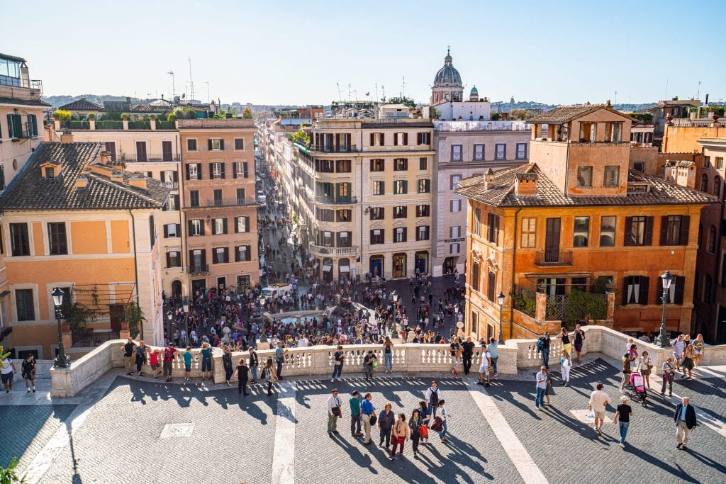 view of piazza di spagna from the top of the spanish steps, a bucket list italy destination