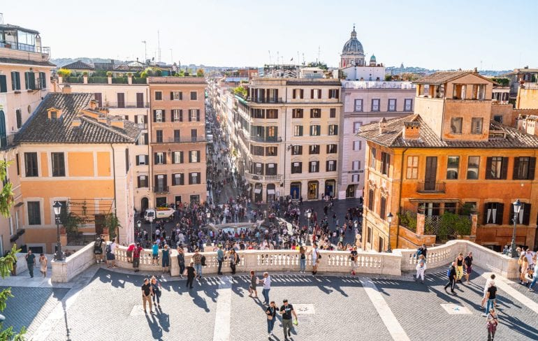 View of Piazza di Spagna from above, one of the best viewpoints in Rome