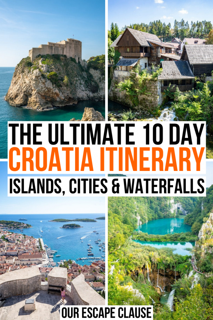"4 photos of Croatia, from top left: fort in Dubrovnik, houses in Rastoke, view from Spanish fortress in Hvar, Plitvice Lakes from above. Black and orange text on a white background reads ""the ultimate 10 day Croatia itinerary, islands, cities and waterfalls"""