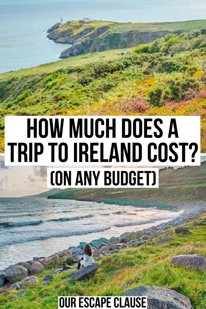 """Two photos of Ireland, top photo of Howth Cliff Walk and bottom of Inch Beach at sunset. Black text on a white background reads """"how much does a trip to Ireland cost on any budget"""""""