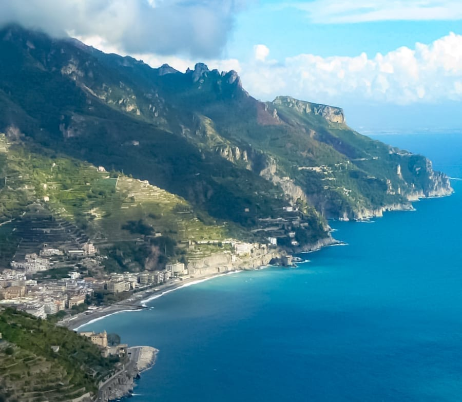 View of the Amalfi Coast from Ravello, one of the prettiest small villages in Italy
