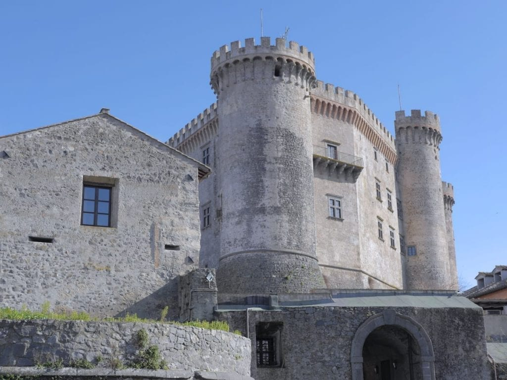 Bracciano Castle as seen by looking up in Lazio Italy