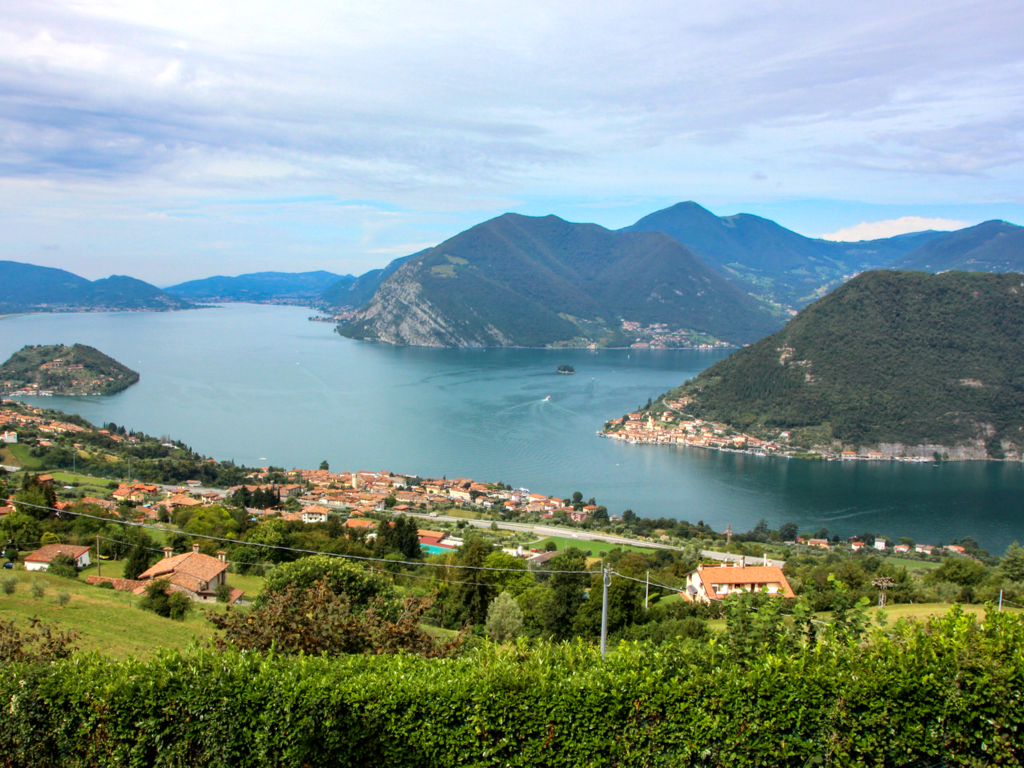 view of lake iseo in italy from above