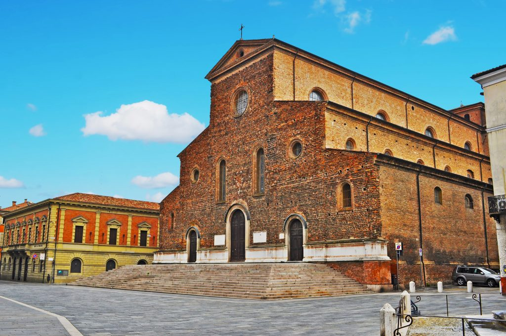 brown brick duomo in faenza, one of the prettiest italian villages in emilia romagna