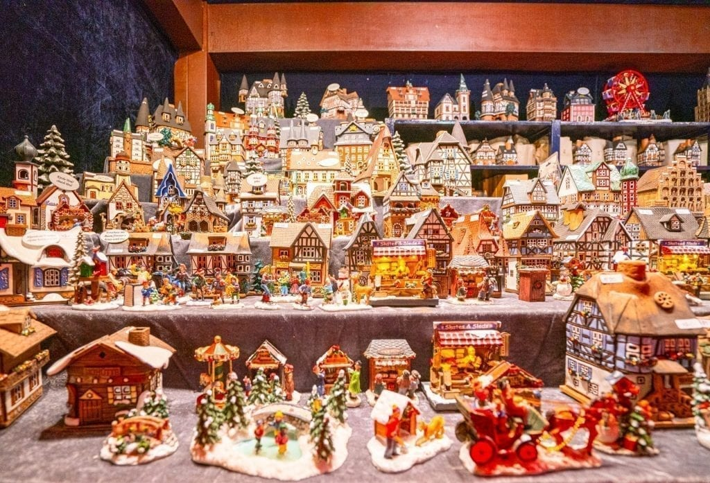 Collection of small houses for sale at a Christmas market in Cologne Germany
