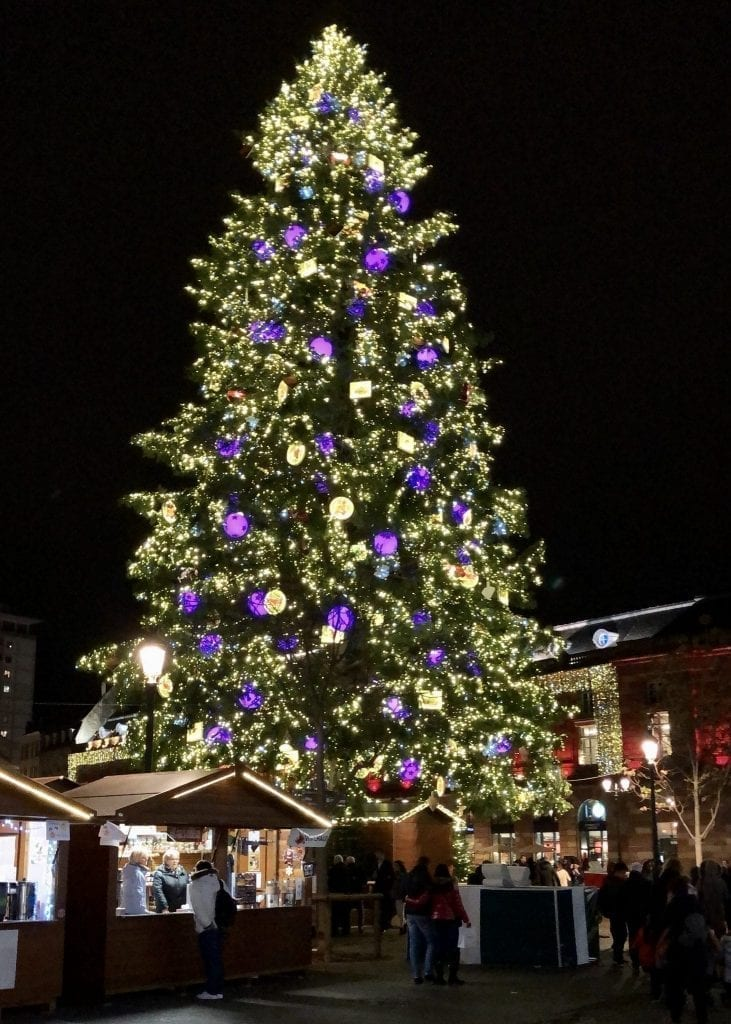 Christmas tree in Place Kleber as seen in Strasbourg in December