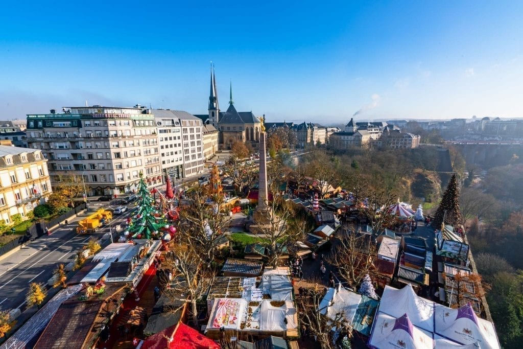 Luxembourg Christmas market from above as seen in a Ferris wheel