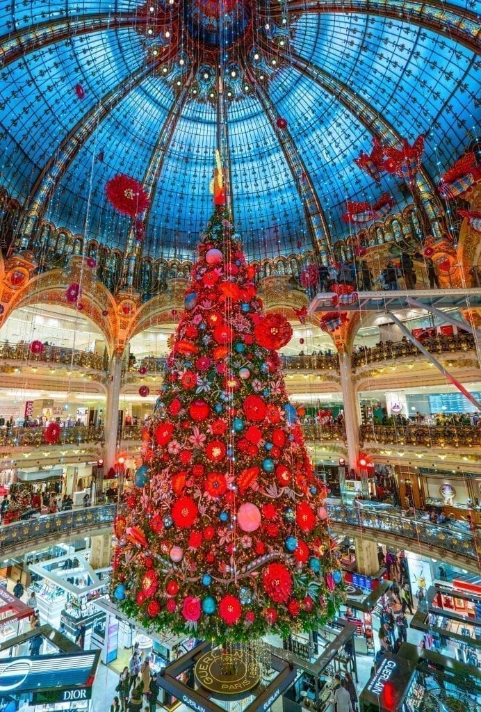 2019 galeries lafayette christmas tree, one of the best things to do in paris in winter