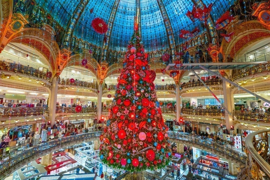 Galeries Lafayette Christmas tree 2019 in Paris France