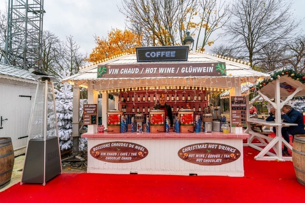 Christmas market stall in the Jardin des Tuileries market in Paris in December