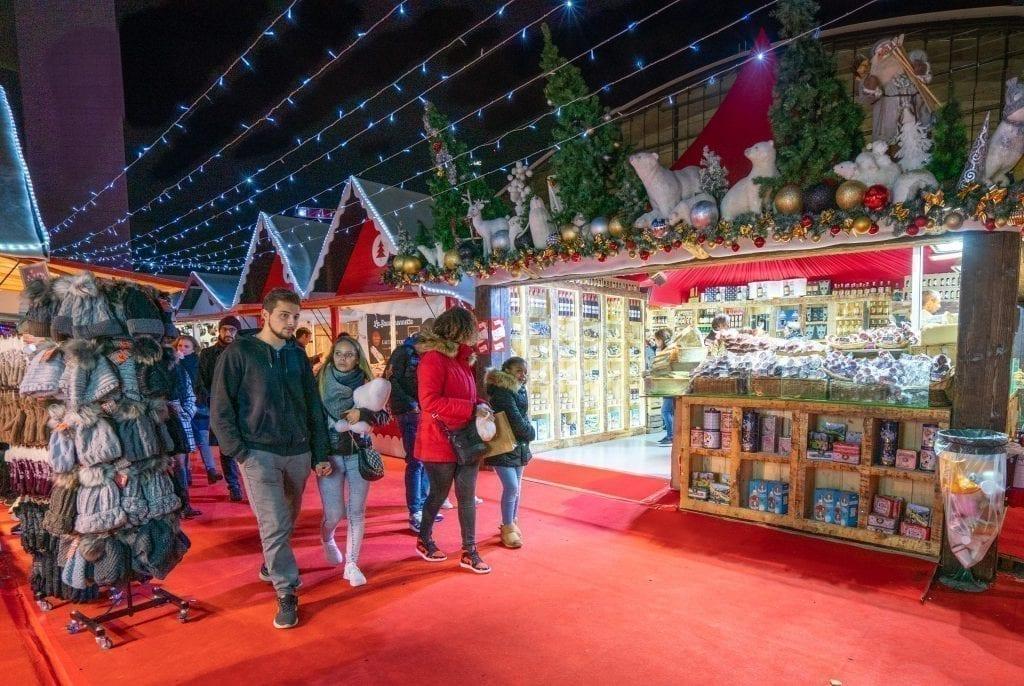 christmas market in la defense paris at night