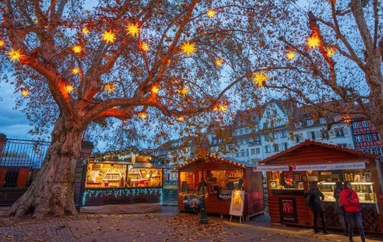 Strasbourg Christmas market stalls set up under a tree with lights in it at twilight