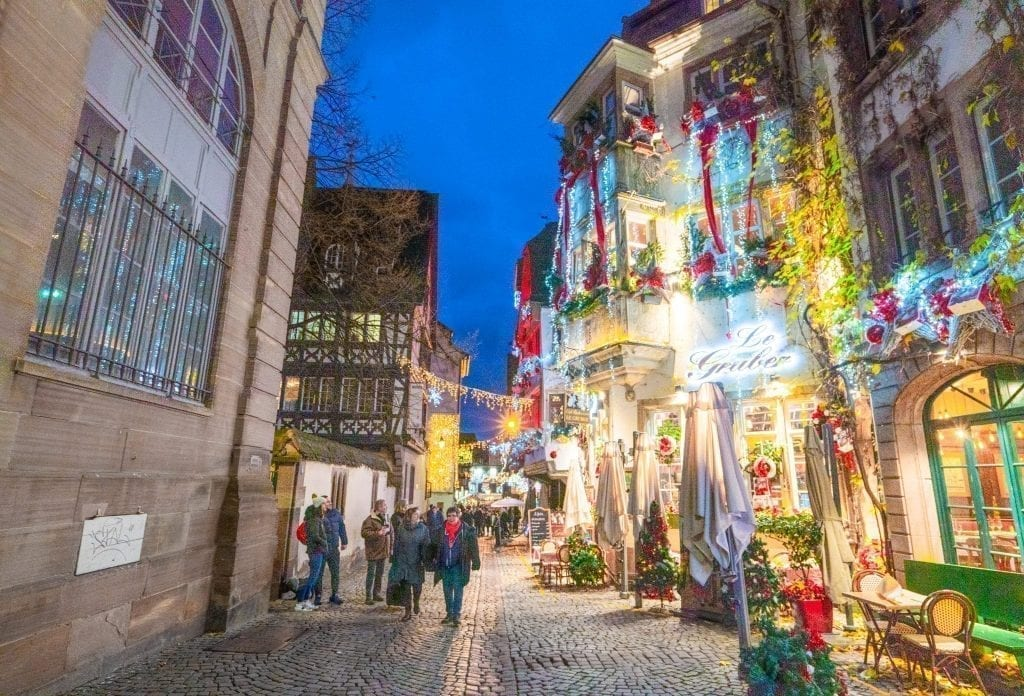 Street in Strasbourg France decorated for Christmas at blue hour