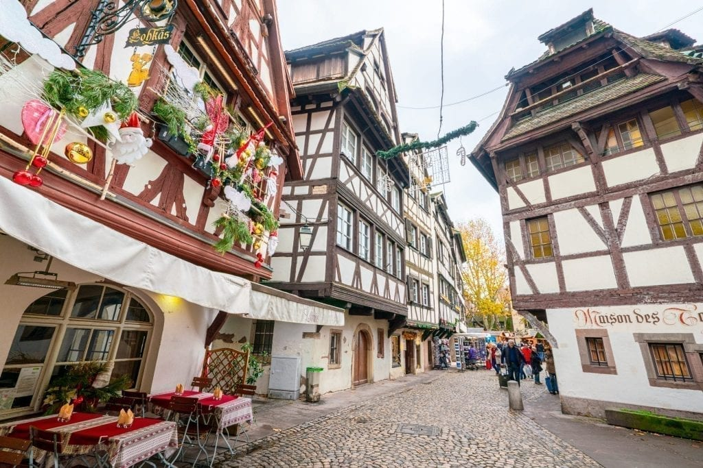 half timbered houses in strasbourg france christmas decorations