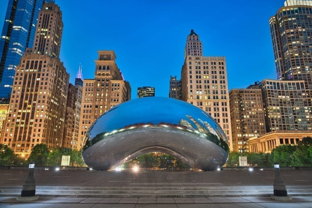 Chicago bean in Millenium Park--Chicago's incredible architecture has been the subject of many of the best Chicago quotes and best potential Chicago captions!